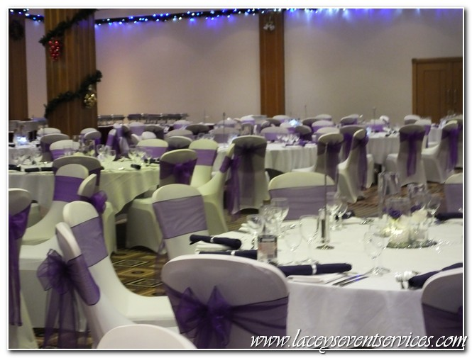 chair cover hire croydon orange bucket laceys event services galleries and photos we supplied fitted white covers woth cadbury purple organza sashes matching linen napkins trio of vase centrepieces candles