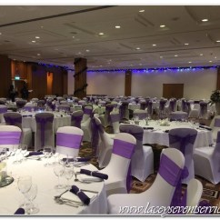 Chair Cover Hire Croydon Vingli Fishing Laceys Event Services Galleries And Photos We Supplied Fitted White Covers Woth Cadbury Purple Organza Sashes Matching Linen Napkins Trio Of Vase Centrepieces Candles