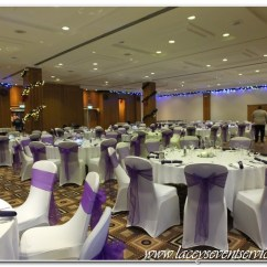 Chair Cover Hire Croydon Wood Table Black Chairs Laceys Event Services Galleries And Photos We Supplied Fitted White Covers Woth Cadbury Purple Organza Sashes Matching Linen Napkins Trio Of Vase Centrepieces Candles