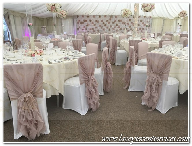 chair covers and sash hire hertfordshire purple velvet chairs organza hoods for wedding laceys event services alternative to ruffle sashes lace waterfall