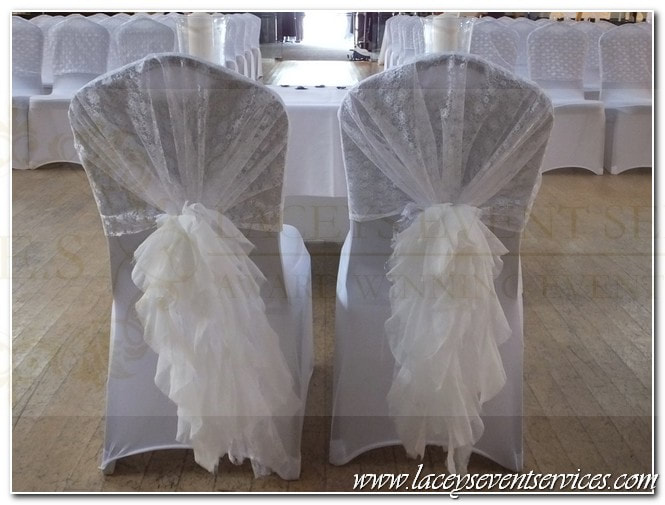 chair sash alternatives desk and set for child organza hoods wedding chairs laceys event services alternative to covers ruffle sashes lace waterfall