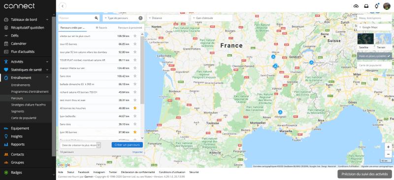 tour parcours Garmin Connect