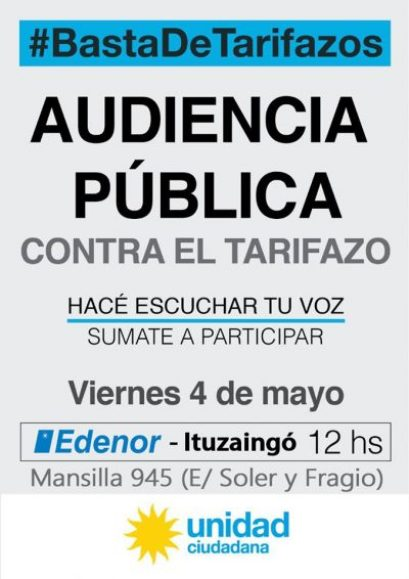 Tarifazos: Convocan a una marcha el viernes frente a Edenor  en Ituzaingó 2