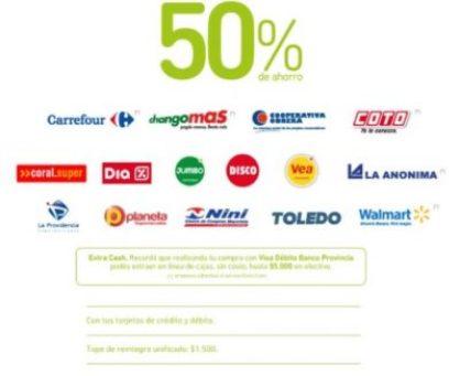 Mañana, el Banco Provincia vuelve a ofrecer el 50% de descuento en compras con sus tarjetas 2