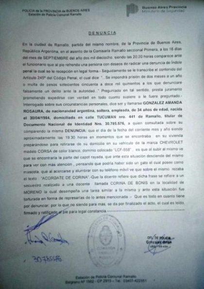 """Grave amenaza a una docente de Ramallo: le escribieron en el auto """"acordate de Corina"""" 2"""