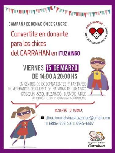 """Campaña de Donación de Sangre para """"Hospital Garrahan"""" en Ituzaingó 2"""