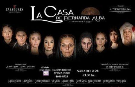 Doble función de 'La casa de Bernarda Alba' esta noche en Ituzaingó 2