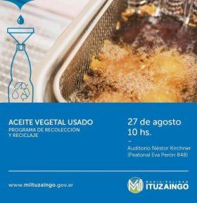 Se relanza en Ituzaingó el programa de Reciclado de aceite vegetal usado para su conversión a Biodiesel 2