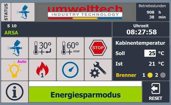 Energiesparmodus | Steuerung für Lackierkabinen