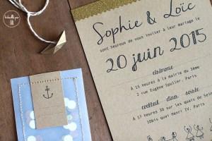 Faire-part mariage kraft confettis