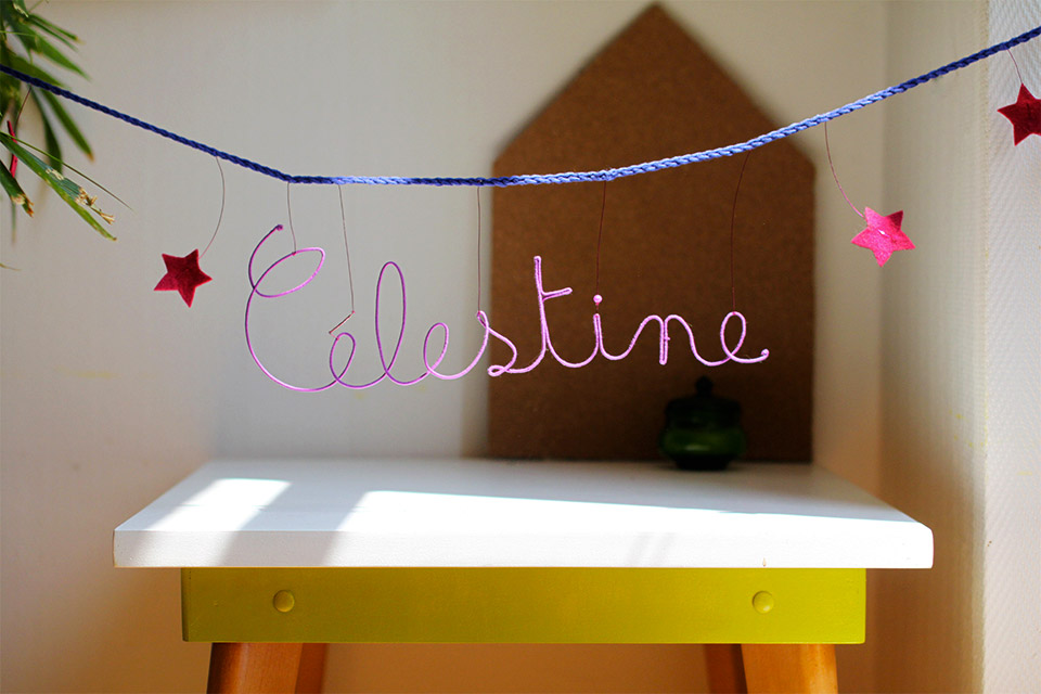 Guirlande prénom étoiles - prénom violet