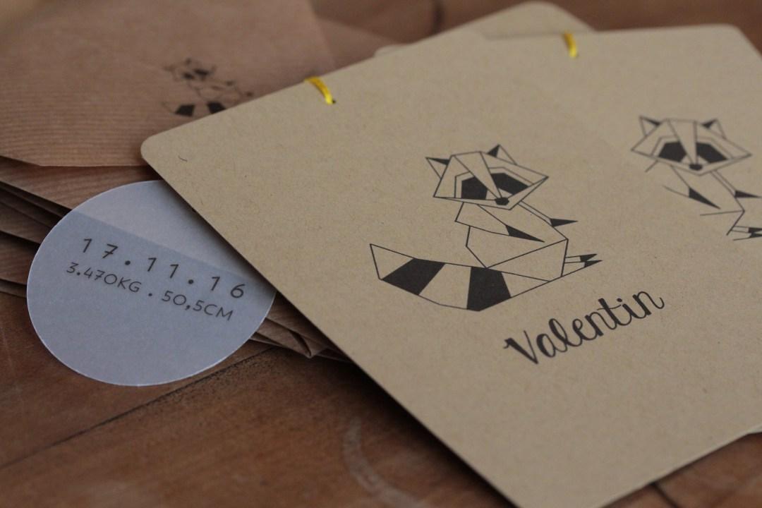 faire-part origami Valentin