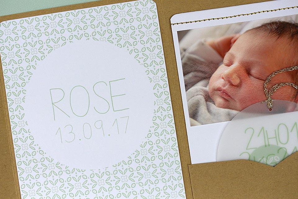 Faire-part pochette Rose