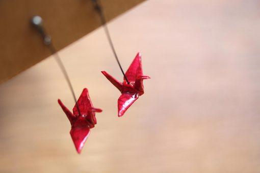 boucles d'oreilles origami rose