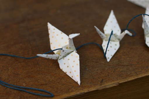 guirlande origami doré