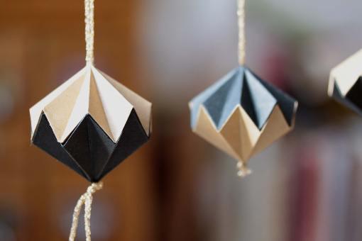 Décoration de noël, diamant origami kraft et noir