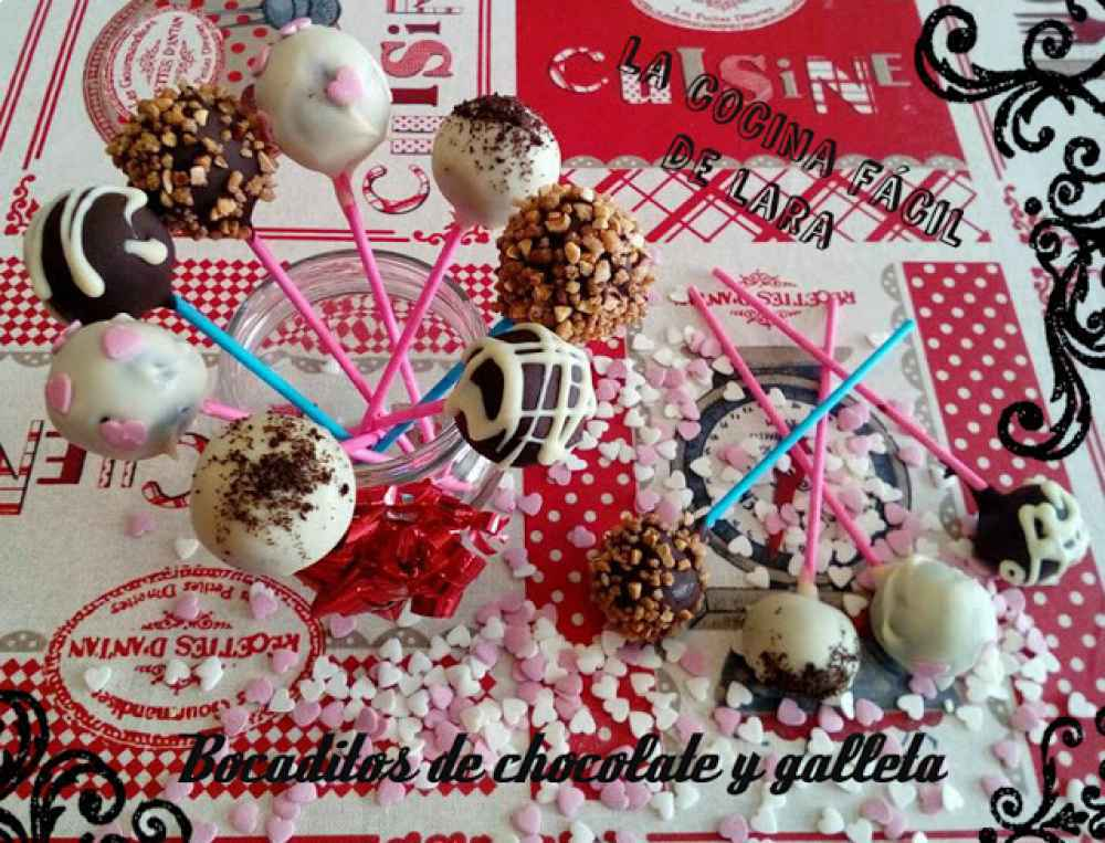cake pops de chocolate y galleta