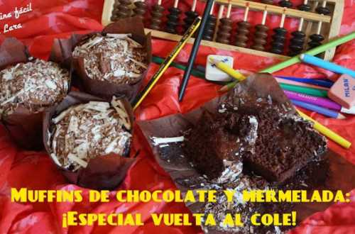 Muffins de chocolate y mermelada