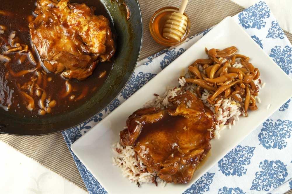 pollo con salsa teriyaki a la miel