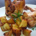 Pollo asado al vino con aliño de hierbas