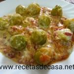 Coles de Bruselas con salsa de queso Emmental