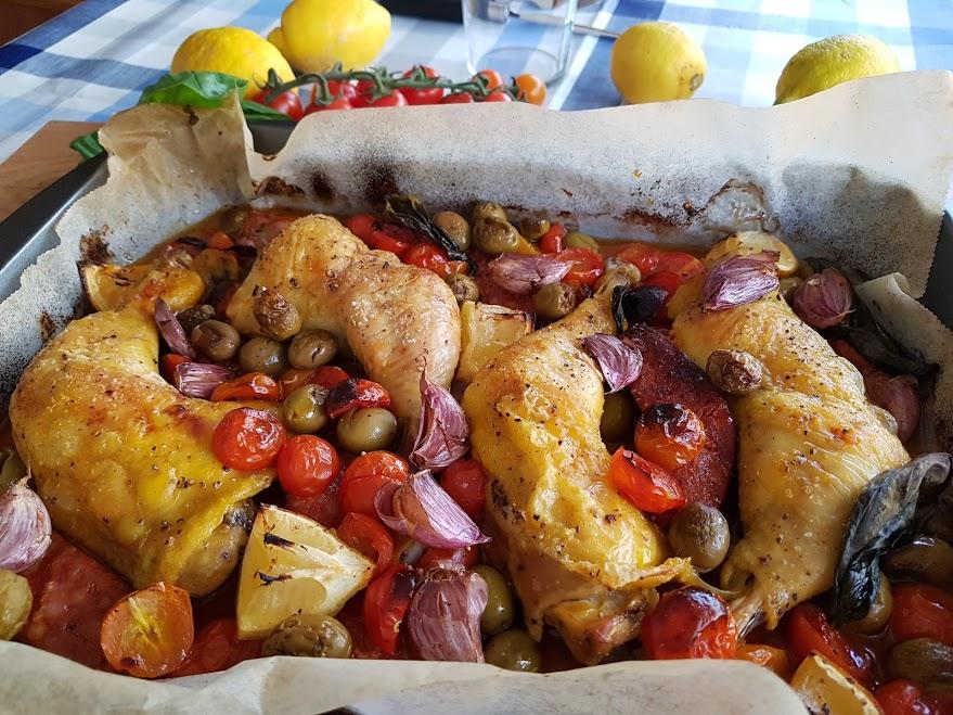 pollo asado con chorizo