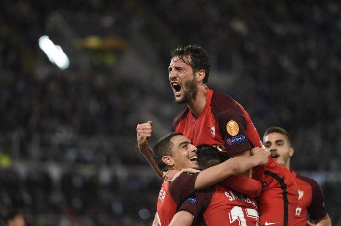 Celebración del gol de Ben Yedder ante la Lazio en la idea de dieciseisavos de la Europa League
