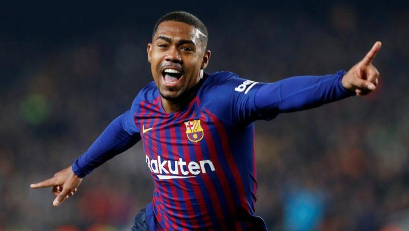 Malcom celebra un gol con el FC Barcelona