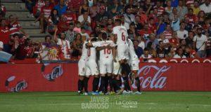 Parte de la plantilla del Sevilla FC, celebrando el gol de la victoria | Imagen: La Colina de Nervión - Javi Barroso