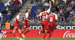 Jordán, De Jong, Reguilón y Nolito, celebrando el segundo tanto ante el Espanyol | Imagen: Sevilla FC