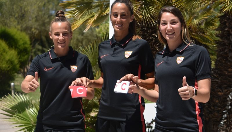 Raquel Pine, Maite Albarrán y Aldana Cometti, nuevas capitanas del primer equipo femenino   Imagen: Sevilla FC