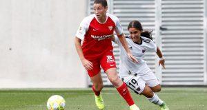 Raquel Pinel, durante el partido amistoso ante el CD Tacón | Imagen: Sevilla FC