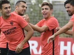 Sergio Reguilón, durante el entrenamiento con el Sevilla   Imagen: Sevilla FC