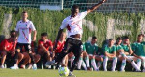 Baron Kibamba, durante un partido del Sevilla Atlético | Imagen: Sevilla FC