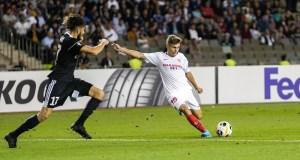 Alejandro Pozo ante el Qarabag / Foto: Sevilla FC