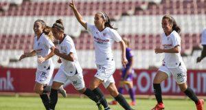 Virgy García, del Sevilla Femenino, tras su gol al UD Granadilla Tenerife |Imagen: Sevilla FC