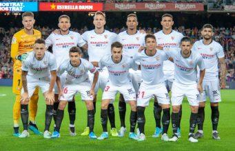 Alineación que presentó el Sevilla ante el Barcelona en el Camp Nou   Imagen: Sevilla FC