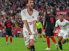 El Mudo, celebrando el primer y único tanto frente al Atlético de Madrid | Imagen: Sevilla FC