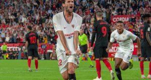 El Mudo, celebrando el primer y único del Sevilla FC tanto frente al Atlético de Madrid | Imagen: Sevilla FC