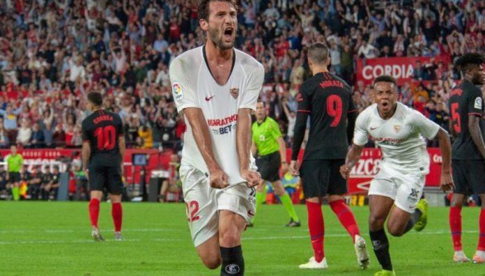 El Mudo, celebrando el primer y único del Sevilla FC tanto frente al Atlético de Madrid   Imagen: Sevilla FC