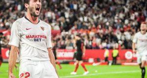 Franco Vázquez, celebrando el tanto conseguido para el Sevilla ante el Atlético de Madrid   Imagen: Sevilla FC