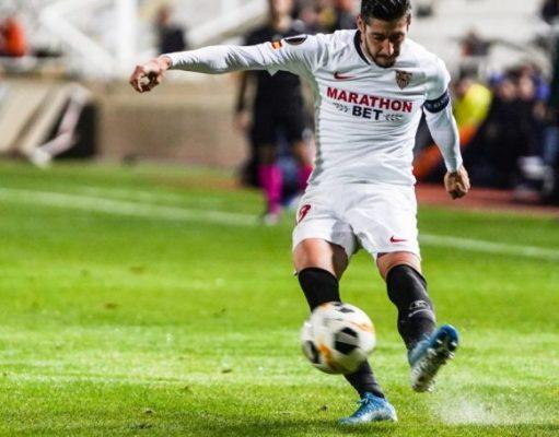 Escudero, ante el Apoel, en el partido número 150 de su carrera como sevillista | Imagen: Sevilla FC