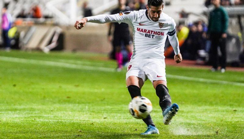 Escudero, ante el Apoel, en el partido número 150 de su carrera como sevillista   Imagen: Sevilla FC