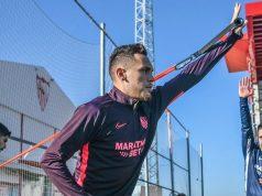 Lucas Ocampos, durante el entrenamiento del Sevilla |Imagen: Sevilla FC