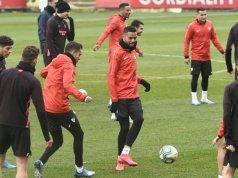 Imagen del Sevilla hoy durante el entrenamiento | Imagen: Sevilla FC