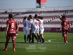 Celebración del gol del Sevilla Femenino ante el EDF Logroño | Imagen: La Colina de Nervión - Javier Barroso