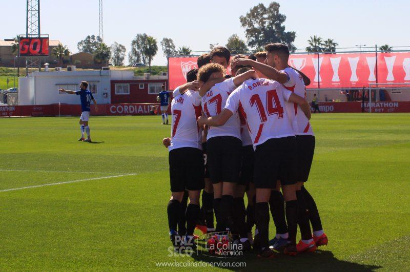 Celebración de uno de los tantos del filial del Sevilla FC, el Sevilla Atlético | Foto: Paz Seco, La Colina de Nervión