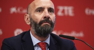 Monchi, en la rueda de prensa de presentación de Julen Lopetegui como entrenador del Sevilla FC