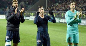 Sergio Rico y Sarabia, celebran la victoria del PSG