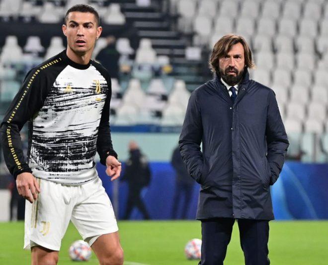 Pirlo y Cristiano Ronaldo antes de comenzar un partido. Noticias Sevilla fc.